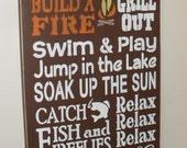 Lake Rules Sign 12 x 24 Pick Your Own Colors Lake House Sign