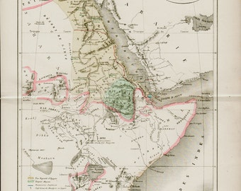 1872 Antique EGYPT map, Ancient Abyssinian Empire, Bay Nile