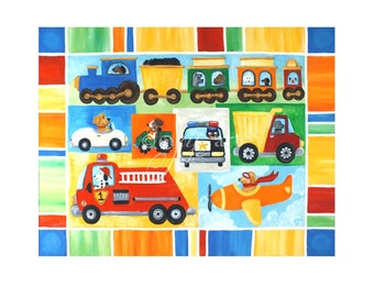 Transportation Art for kids, Dogs Driving,  Vroom #24, 24x18 acrylic canvas painting for boys room