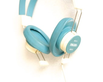 STEREO HEADPHONES vintage walkman AQUA blue chill headphones adaptable for Iphone Ipad and the like