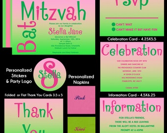 Pink and Green Bat Mitzvah Invitation - Use for Any Event