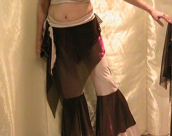 ATS bellydance extreme flare Pants, top and hip belt set  in shimmering pinky beige and maroon iridescent mesh SM-MED