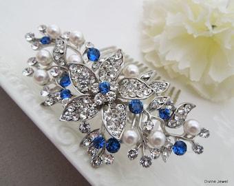 ivory pearl Bridal Rhinestone Hair Comb Wedding Rhinestone Hair Comb flower Rhinestone Hair Comb Swarovski Crystals Something Blue KATY