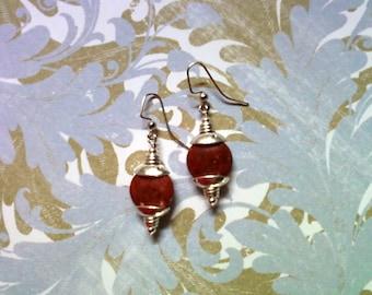 Red Sponge Coral Earrings (1826)