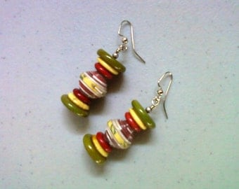 Red, Yellow and Olive Green Earrings (1380)