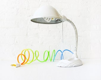 Egg White Gooseneck Cast Iron Desk Lamp - Vintage Industrial Lighting - Spring Citrus Ombre Color Cord - Cool Blue Aqua Sunshine Sea OOAK