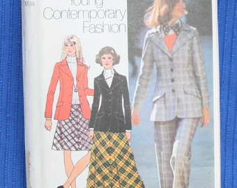 """Simplicity 5212 - Size Miss 16 - Bust 36"""" - Young Contemporary Fashion - Blazer, Bias Skirt, Pants -"""