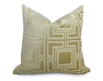 Velvet Greek Key Pillow Cover - Buttercup Gold - Yellow - 18 inch - BOTH SIDES - Decorative Pillow - Throw Pillow - Gold Pillow - Designer