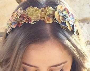 Royal blue yellow and red flower crown: catherine