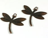Dragonfly Pendant - Large Antique Copper Finish 2.5 inch Dragonfly Pendant - Jewelry Supply