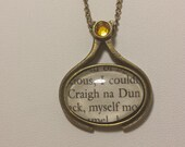 """Outlander by Diana Gabaldon """"Craigh na Dun"""" Charm Necklace made using an Actual Book Page"""