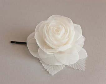 Bridal rose hair pin, Wedding hair flower, Wedding hairpiece, Flower hair pin