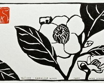 Handmade Linocut Print - Camellia Kissii
