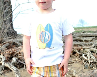 Monogram Surfboard Outfit, Boys Summer Outfit, Boys Monogram Outfit, Plaid Shorts, Applique Outfit, Toddler Boys Outfit, Surfboard Shirt