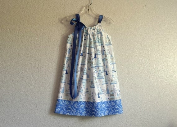 Girls blue and white christmas dress trees in blue and metallic
