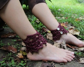 Crochet Dancing Dusty Rose Pixie Ankle Cuffs with Brass Bells