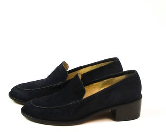 90s Womens Casual Sport Loafers Blue Suede Flats Womens Shoes Sz 7 Hipster Preppy Casual Work Shoes