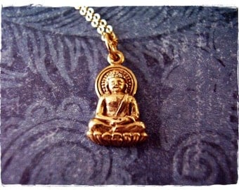 Gold Young Buddha Necklace - Bronze Buddha Charm on a Delicate 14kt Gold Filled Cable Chain or Charm Only