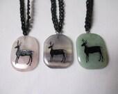 DEER TOTEM GEMSTONE Pendant on Black Hemp Necklace (1) - You Choose Color - Spirit Animal