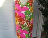 60s Vintage Hawaiian Sleeveless Shift Dress BJs Fashions Mod Bright Neon Floral Medium Large