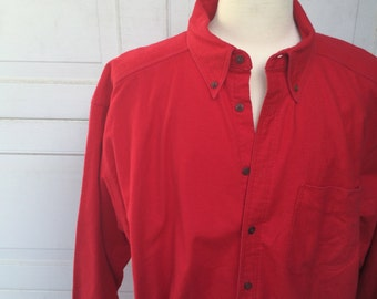 Woolrich Solid Red Vintage Flannel Shirt | Oversize Long  90s Vintage | XXL Men Long Big and Tall