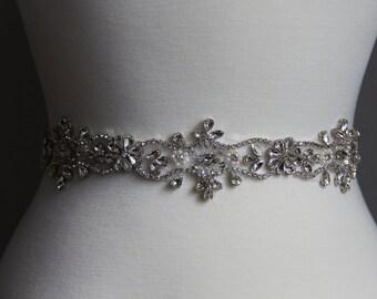 10 to 35 in beaded rhinestone applique, trim, bridal sash, wedding sash, bridal headband, wedding headband,  bridal belt, rhinestone belt