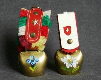 Vintage bells. Alpine travel Swiss souvenir.