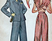 1940s Pajamas Pattern  SIMPLICITY 1520  1945 Teen Pajamas Pleated Trousers, Shorts, Midriff Top Unprinted Pattern  Bust 30