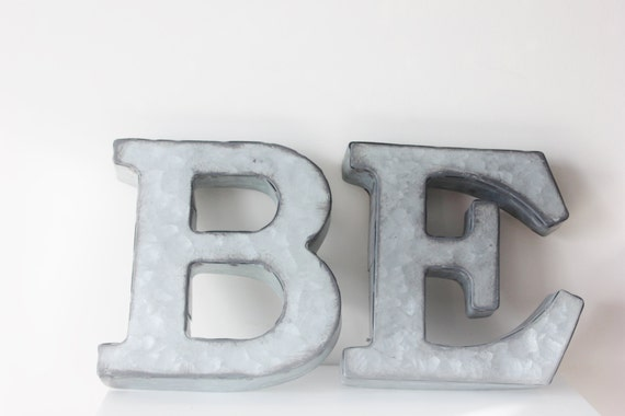 2 small metal letter zinc steel initial home room decor With small metal letters for signs