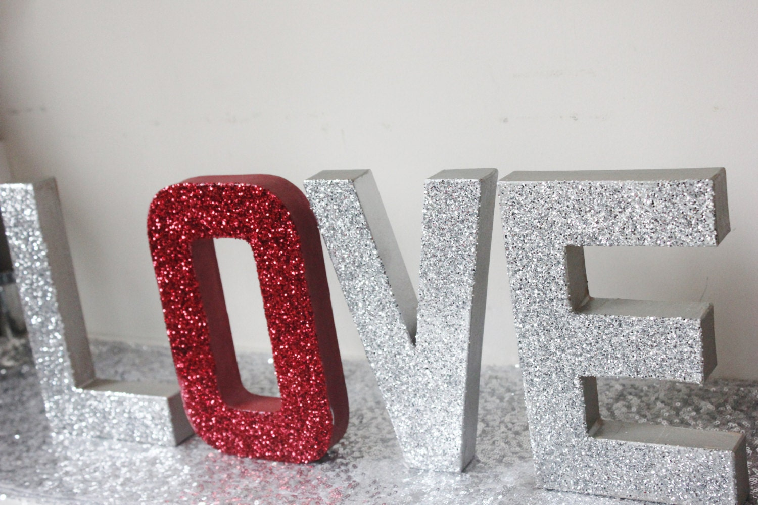 Love glitter red silver sign letters free standing glittered for Silver letters freestanding