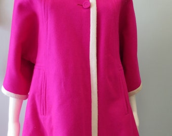 Pink coat Gorgeous 1950s Hot Pink Reversible Wool Coat