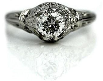 Art Deco Engagement Ring Antique Diamond Ring GIA .81ctw Diamond Platinum Engagement Ring Antique Old european Cut Diamond Size 6.25!
