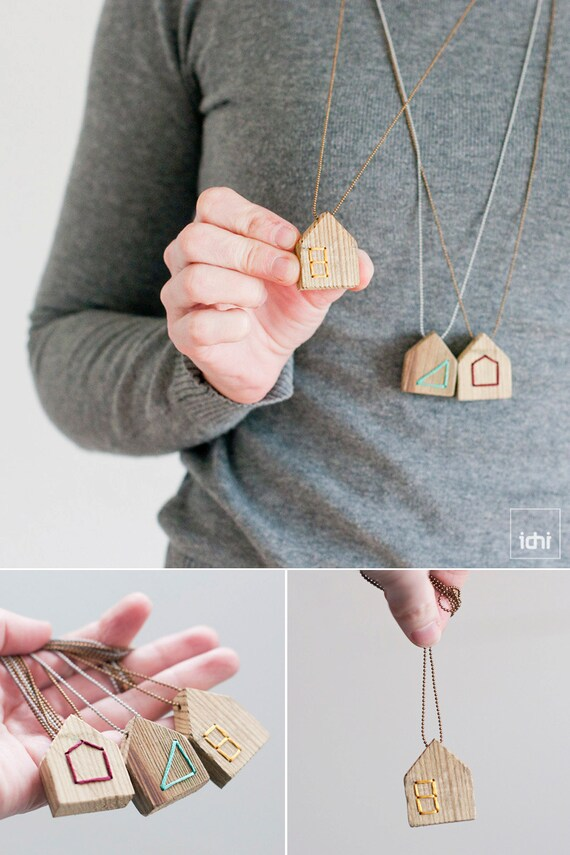 Wood House Necklace · Thread & Wood · Yellow·