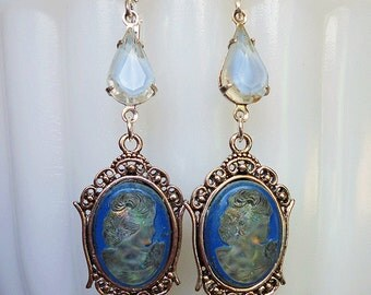 Twinkling Lady in Blue // Gorgeous Vintage 1940s Blue Lady Cameo Earrings, Victorian Edwardian Art Deco Moonchild Bohemian Downton Abbey