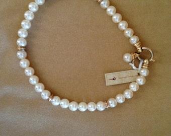 SALE! gold / pearl vintage necklase