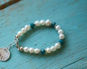 Aquamarine and Freshwater Pearls with Sterling Silver Personalized Disc and Cross Great Baptism Gift or Communion Gift March Birthstone