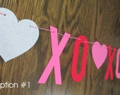 ON SALE... Ready to Ship: Valentine Banner Happy Valentines Day XOXO Mantle Banner Hearts Love X O X O Decor Several Colors to Choose From