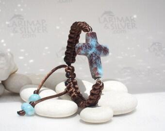 Larimar bracelet, Sea of Faith 4 - blue red Larimar cross, cross larimar, Catholic cross, blue cross, Christian cross, handcrafted bracelet