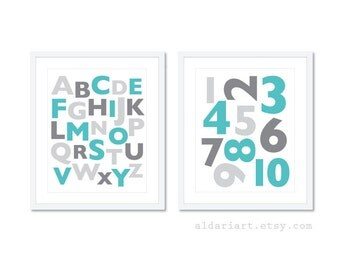 Alphabet and Numbers Nursery Print Set -  Simple Modern Blue and Grey Nursery Wall Art - Numbers and Letters Art Prints