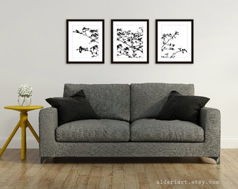 Spring Tree Leaves and Branches Art Prints - Set of 3 - Woodland Nature Home Decor - Black and White - Contemporary Wall Art - Tree Triptych