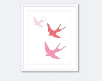 Pink Nursery Birds Art Print // Three Flying Birds // Swallows Wall Art // Baby Girl Nursery Art Print