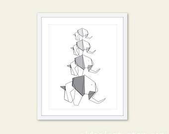 Elephant Art Print. Four Elephants. Mother Father and Baby Elephant Print. Grey and Black Geometric Elephant.