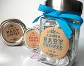 Kraft Paper Baby Shower canning jar labels, custom round stickers for boy and girl mason jar favors, pink blue green neutral colors