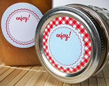 Cottage Chic Red and Blue Canning jar labels, gingham and polka dot round stickers for fruit vegetable preservation jam and jelly mason jars