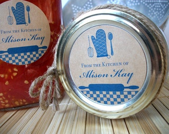 CUSTOM Blue Kraft Kitchen labels, personalized round stickers for gifts, canning jars, or baked goods, from the kitchen of labels