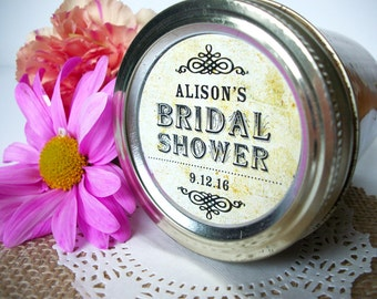 Vintage Wedding Bridal Shower canning jar labels, custom personalized round stickers for jam and jelly jar favors, 3 sizes available