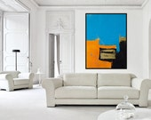 Large 44x60 ORIGINAL ABSTRACT Painting Blue Orange Black Gold, Big Colorful Modern Art Abstract Expressionism Painting, Designer Wall Art