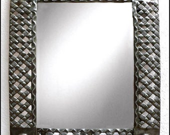 "Metal Mirror Wall Decor, Metal Mirror, Metal Art, Metal Wall Hanging - Haitian Recycled Steel Drum Art - Haitian Art, 34"" x 24"" - J-117-M-36"