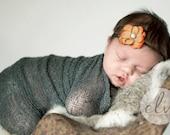 Newborn Photo Prop, Newborn Flower Headband, Orange Flower Headband, Baby Picture Prop, Newborn Headband, Baby Headband, Orange Headband