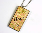 Decoupaged Keychain Yellow Rectangle Wood Key Chain Word Hope Swarovski Crystal Embellished Gift for Her Under 10